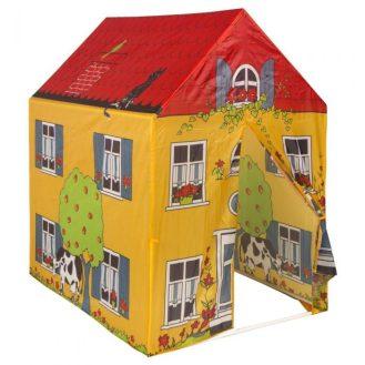 Tienda de juegos con forma de casa amarilla