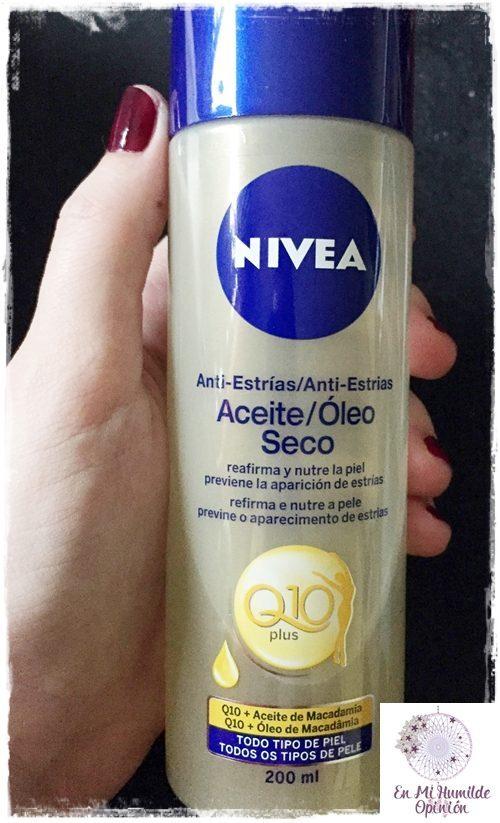 Aceite Seco Anti-Estrías Nivea Q10 Plus, con aceite de macadamia