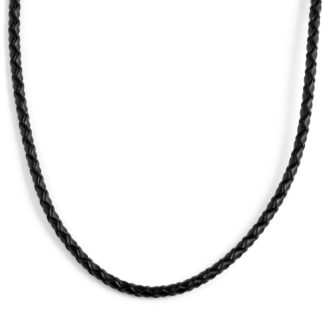 Collar de cuero trenzado negro 3 mm