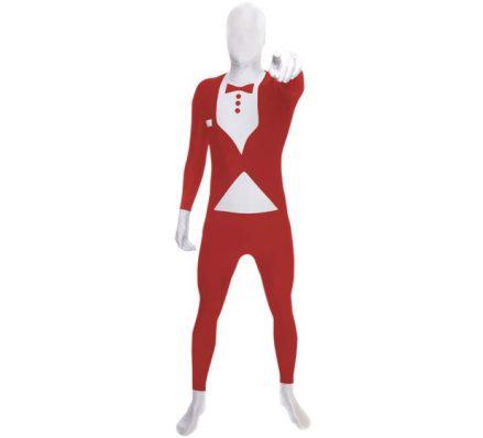 Disfraz MORPHSUIT modelo traje rojo con pajarita