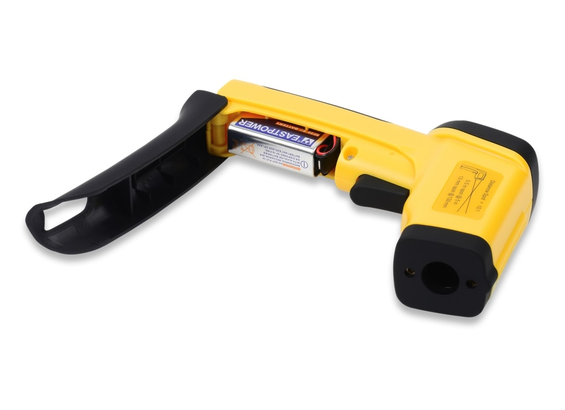 eT1050D-temperature gun battery compartment