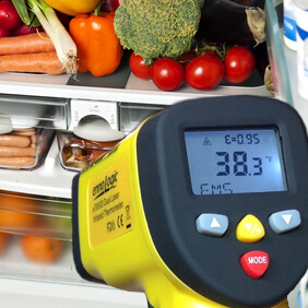 Non-contact infrared thermometers can provide instant temperature readings of chilled, frozen or hot foods.