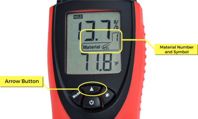 Moisture Meter LCD Display W Legends Material Arrow and Material Setting eH710T