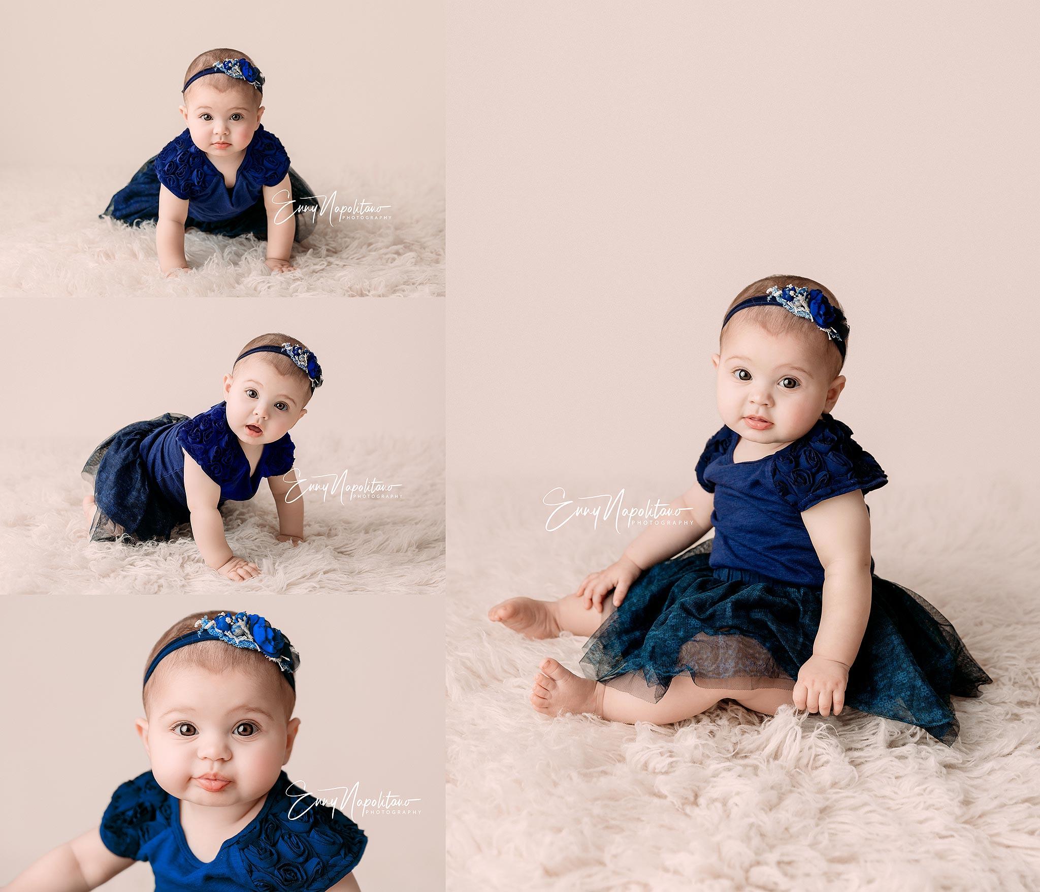 Fotografie di una bambina di 7 mesi in uno studio fotografico per bambini a Milano, Pavia, Monza, Bergamo, Varese fotografo di bambini Milano