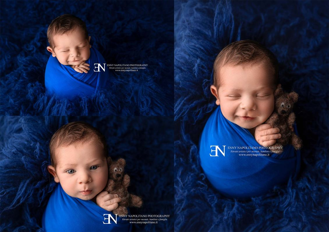 Potato sack pose smiling baby boy