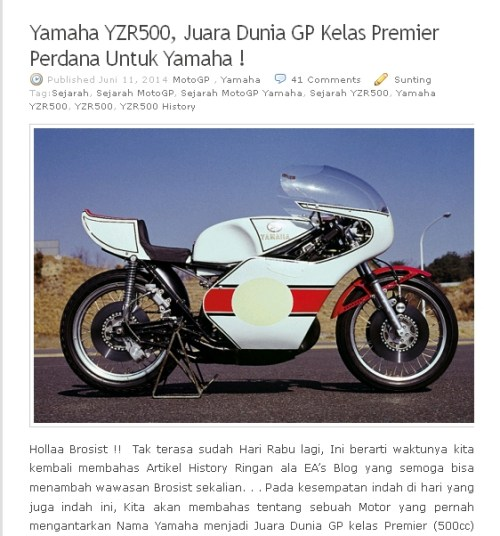 Artikel History Yamaha