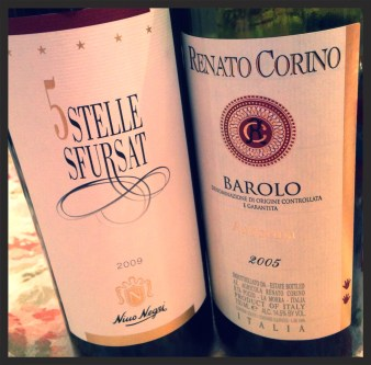 My bottle of RC Barolo Arborina 05 and another's 5 Stelle - a fine pairing for Turkey Day!