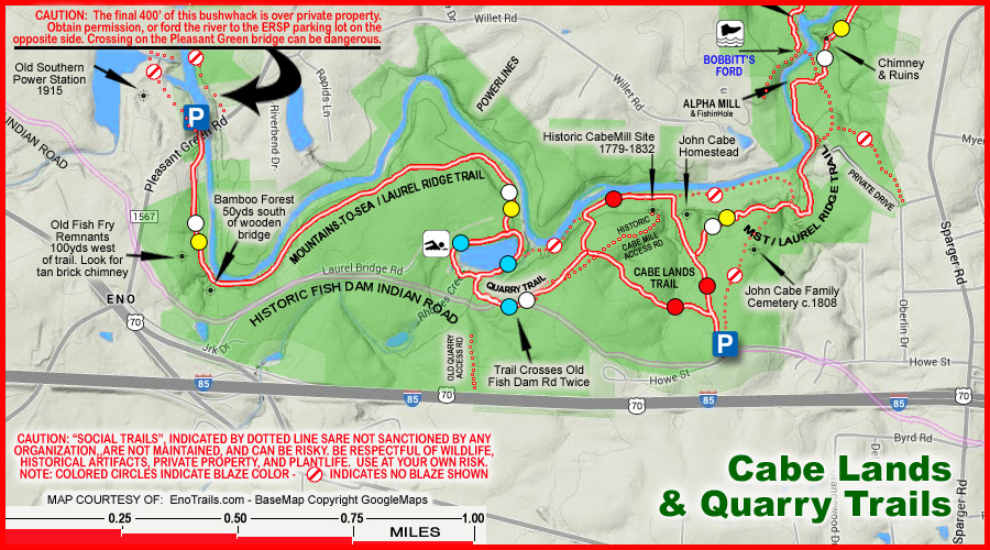 Map of this Eno River Trail