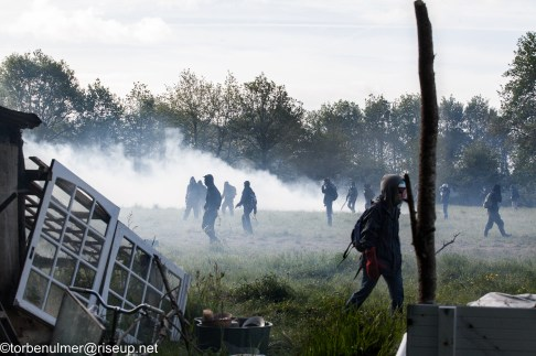 fights about the eviction of barricades on 26/04/2018. Zadists standing in clouds of tear gas at the meadow in front of LaWardine