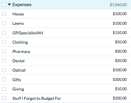 YNAB Expenses Category