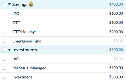 YNAB Savings and Investment Categories