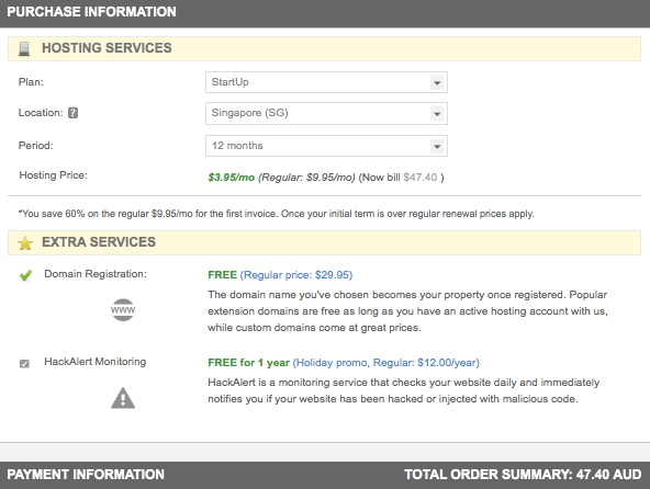 """Screenshot of HackAlert """"free"""" offer, showing $47.40 to upgrade needed to access the offer."""