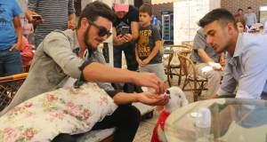 Sahibi, yavru kuzu saffet'e tshirt giydirip biberon ile besliyor