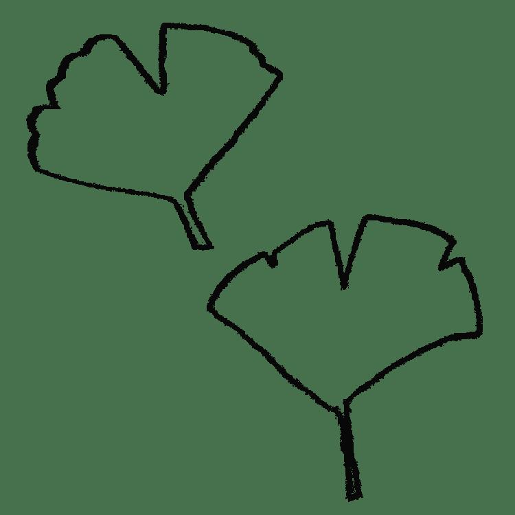 イチョウの葉っぱのイラストフリー素材
