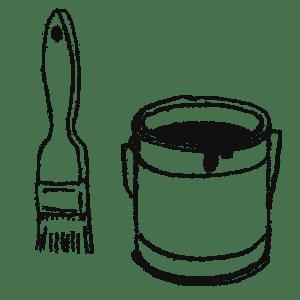 ペンキの缶と刷毛のイラストフリー素材