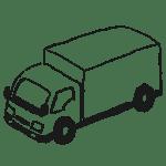 配送トラックの鉛筆手描きイラストフリー素材