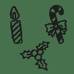 クリスマスキャンドル、ステッキ、柊の葉っぱのフリー素材イラスト