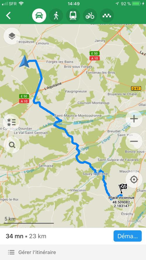 itineraire application carte voyage map
