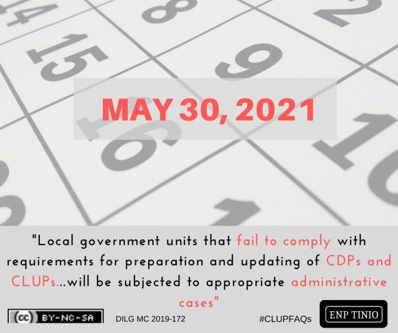 May 2021 is the deadline for LGUs to update CLUPs and CDPs.