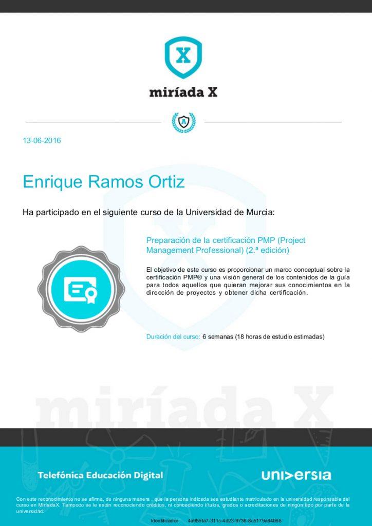 Certificado participación curso Preparación de la certificación PMP (Project Management Professional)