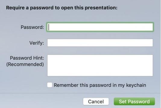 Cómo Establecer contraseña para Keynote en Mac