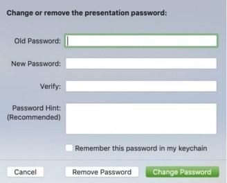Cambiar o eliminar contraseña para Keynote en Mac