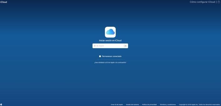 El sitio web oficial de iCloud