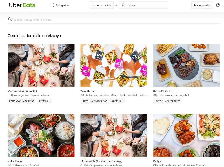 pedir comida en Uber Eats