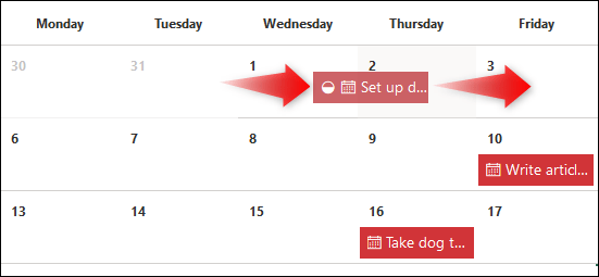 Una tarea arrastrada de una fecha a otra.