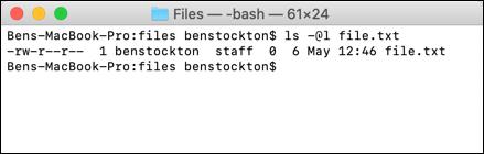 El comando ls en la terminal de macOS