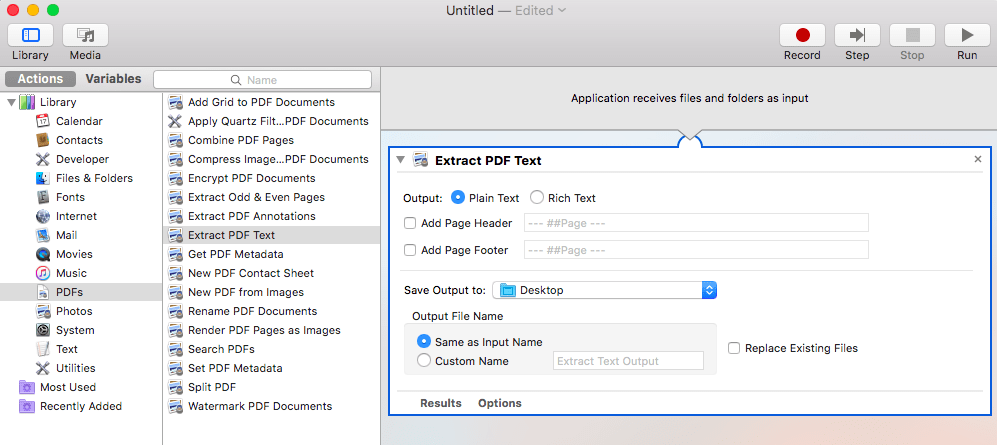 Drag and drop the PDF action into Automator's editor area.