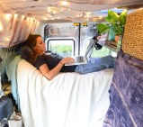 Surfer and graphic designer Tasha Rivard lives in a 2010 Transit Connect in Carbondale, Colorado.