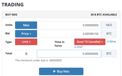 E' sufficiente selezionare la valuta che si intende acquistare, selezionare il prezzo di acquisto (in questo caso 0.00596150) e successivamente premere MAX in corrispondenza della quantità