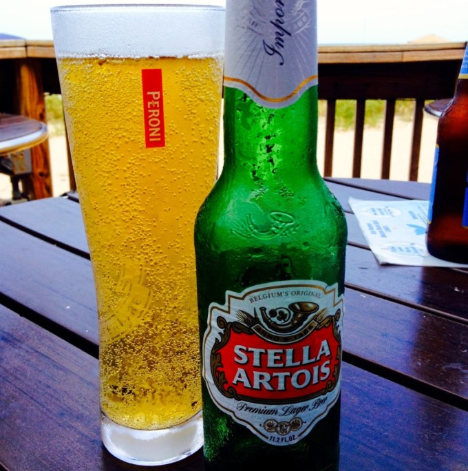 Stella Artois, beer, bottle and glass of beer, Lauderdale by the Sea