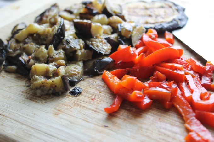 chopped eggplants and red peppers for watercress and grilled vegetable salad