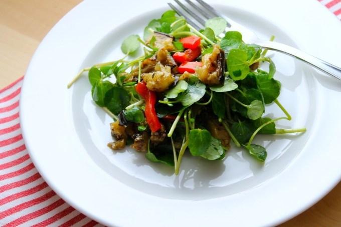 salad, watercress & grilled vegetables salad