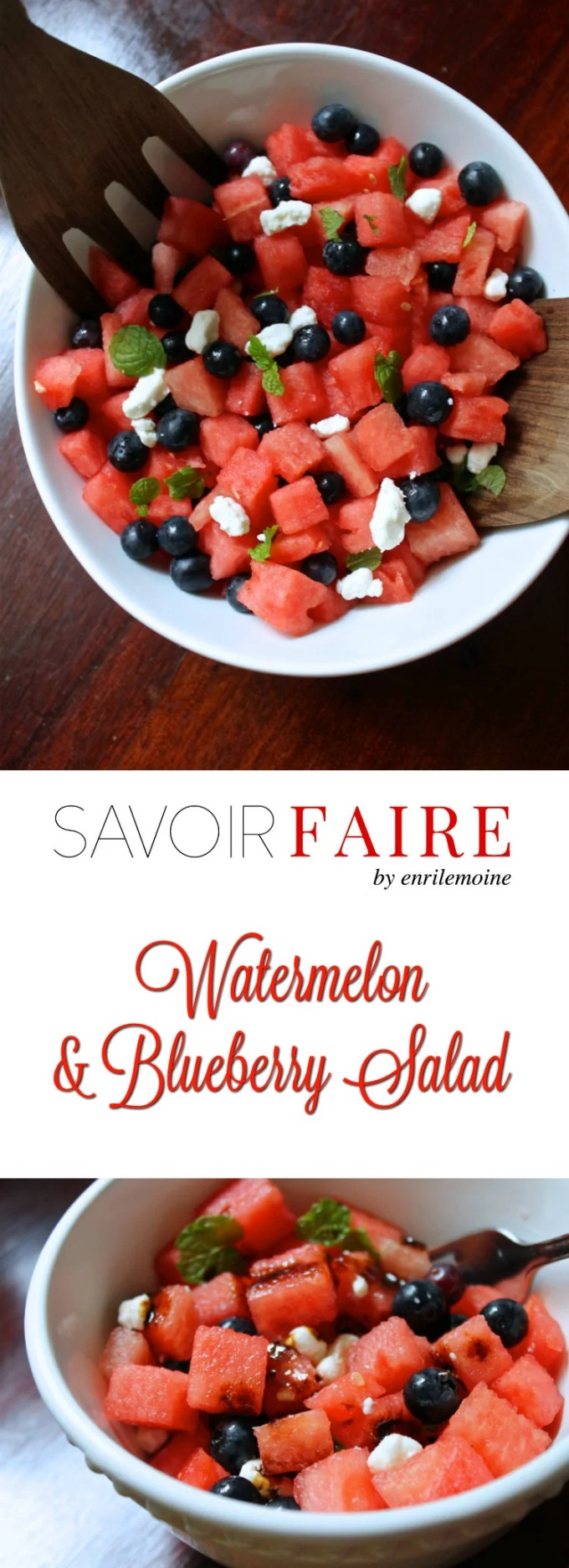 This watermelon & blueberry salad is the perfect summer side dish made with seasonal fruit. It can be served as a snack and it's a must in any 4th of July BBQ