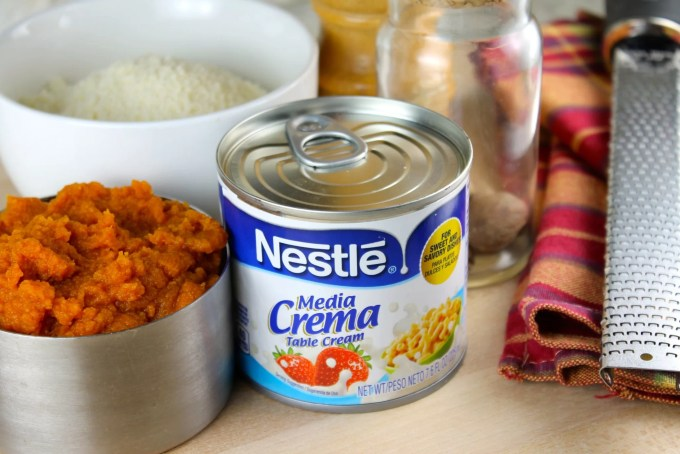 ingredientes para tagliatelle alfredo con calabaza