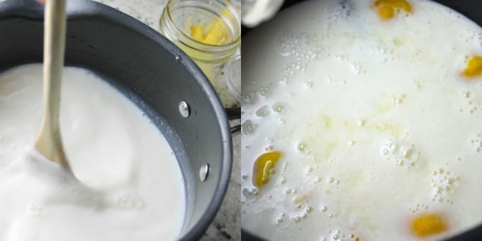 preparación de dulce de leche cortada