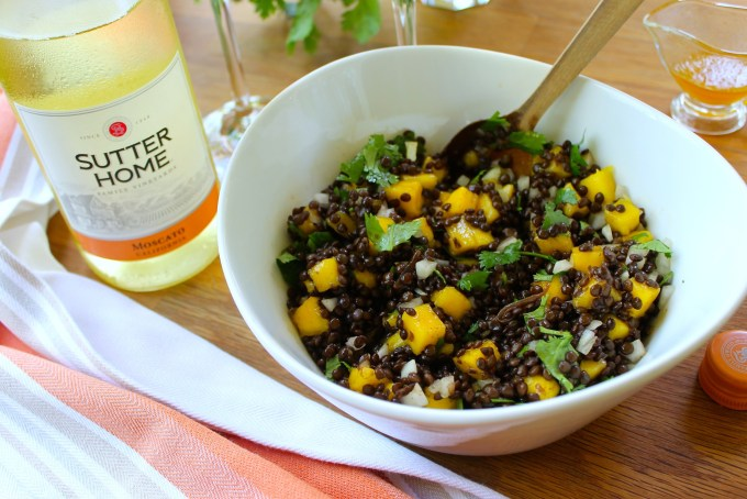 Chipotle beluga lentil salad with mango