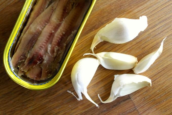 Anchovies and garlic