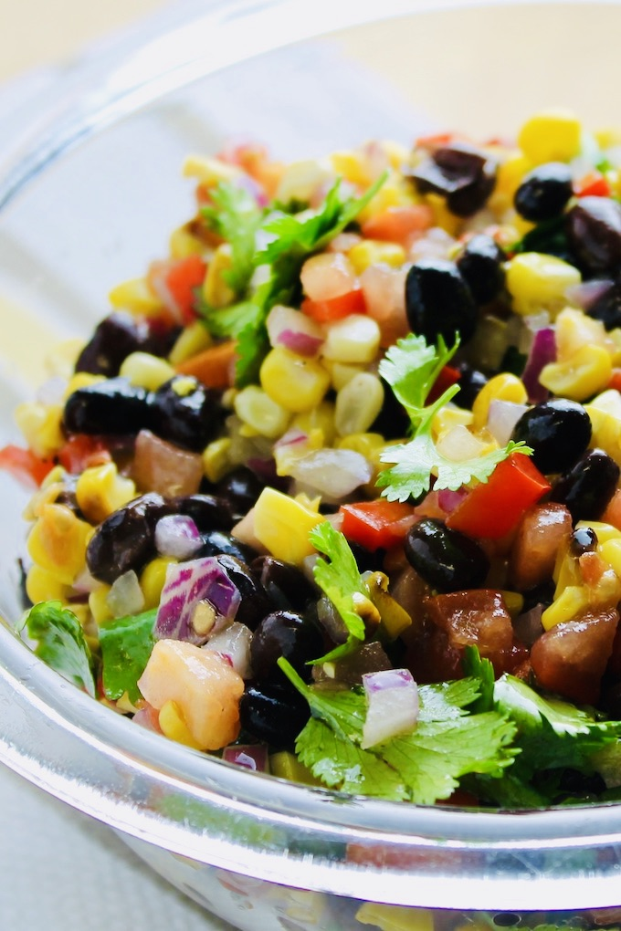 grilled corn and black bean salas