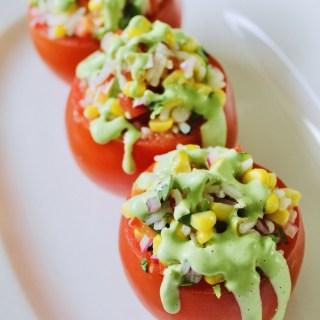 Rice and Corn Salad-Stuffed Tomatoes