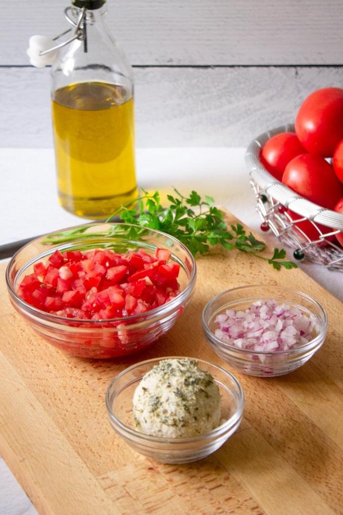 Ingredients to make shanklish salad