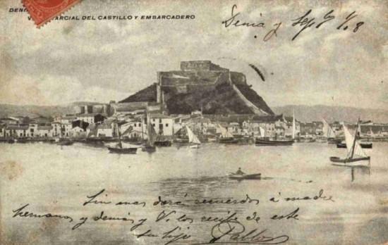 Vista del Castillo de Denia antes de explotar la cantera