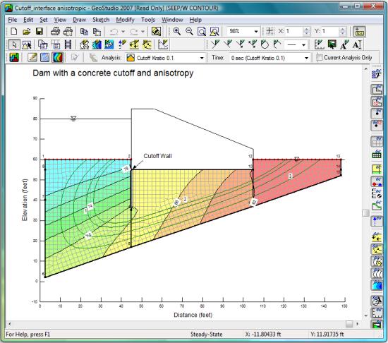 Captura de pantalla de SEEP/W 2007