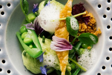 Dish of flowers and vegetables at Alo restaurant