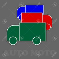 three trucks in green, red and blue colors with shadows