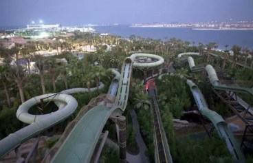 Water slides are seen at the park at the Atlantis hotel area, the flagship resort on Dubai's man-made Palm Jumeirah Island on the Persian Gulf