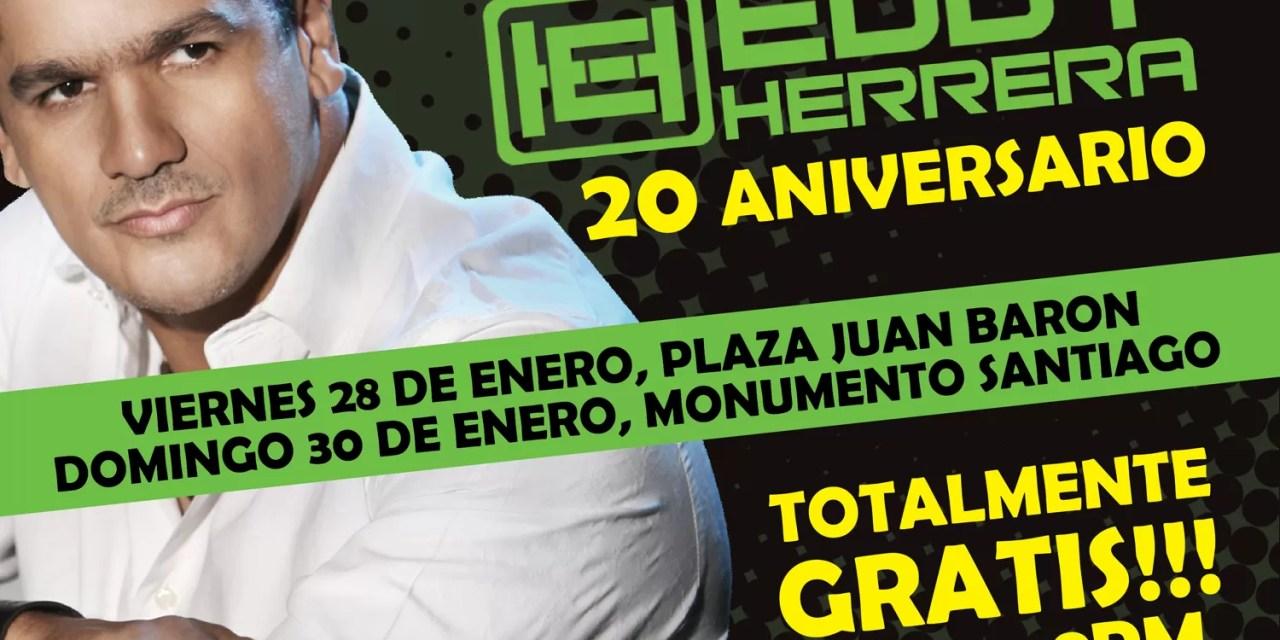 Eddy Herrera ofrecerá concierto gratis en la plaza Juan Baron para celebrar sus 20 años de carrera